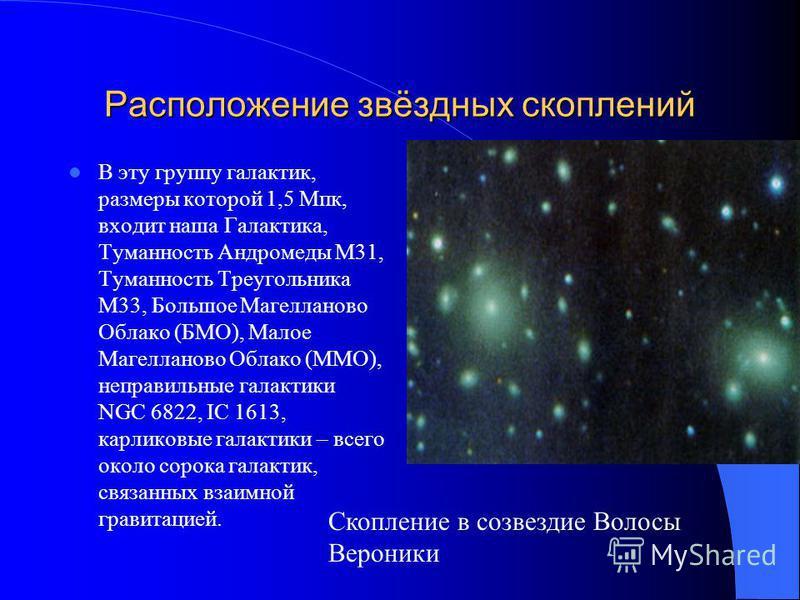 Расположение звёздных скоплений Галактики редко бывают одиночными. 90 процентов галактик концентрируются в скопления, в которые входят от десятков до нескольких тысяч членов. Средний диаметр скопления галактик 5 Мпк, среднее число галактик в скоплени