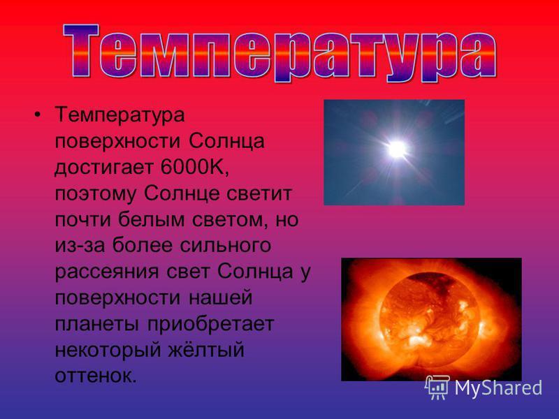 Температура поверхности Солнца достигает 6000K, поэтому Солнце светит почти белым светом, но из-за более сильного рассеяния свет Солнца у поверхности нашей планеты приобретает некоторый жёлтый оттенок.