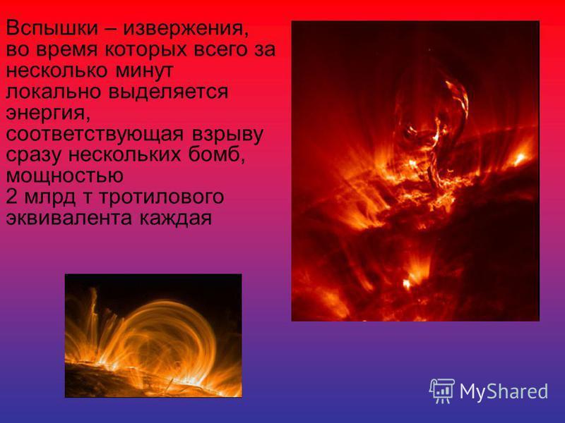 Вспышки – извержения, во время которых всего за несколько минут локально выделяется энергия, соответствующая взрыву сразу нескольких бомб, мощностью 2 млрд т тротилового эквивалента каждая