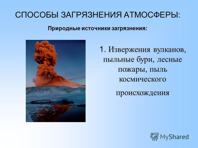 СПОСОБЫ ЗАГРЯЗНЕНИЯ АТМОСФЕРЫ: Природные источники загрязнения: 1. Извержения вулканов, пыльные бури, лесные пожары, пыль космического происхождения
