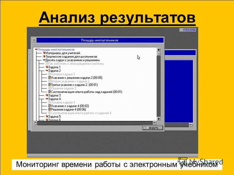 Анализ результатов Мониторинг времени работы с электронным учебником