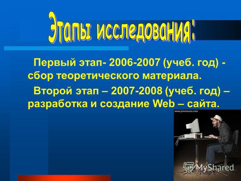 Первый этап- 2006-2007 (учеб. год) - сбор теоретического материала. Второй этап – 2007-2008 (учеб. год) – разработка и создание Web – сайта.
