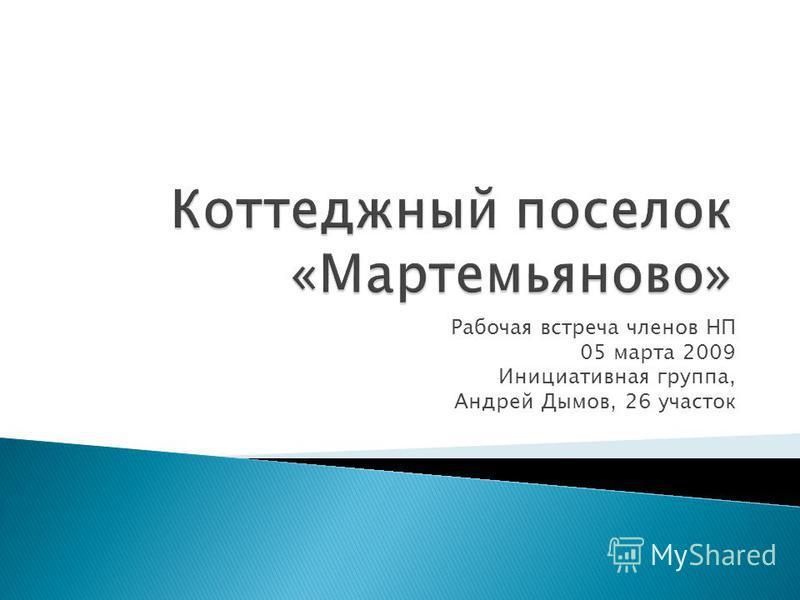 Рабочая встреча членов НП 05 марта 2009 Инициативная группа, Андрей Дымов, 26 участок