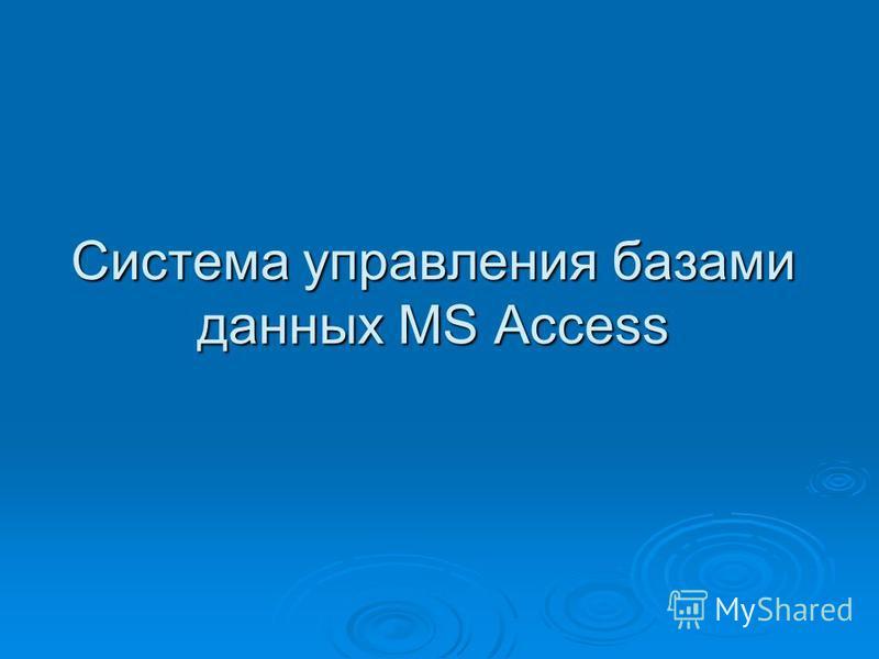 Система управления базами данных MS Access