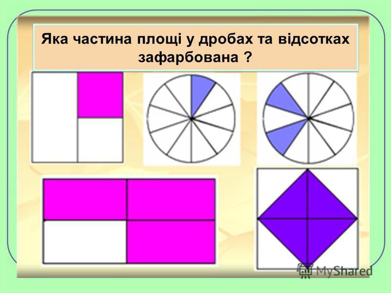 Яка частина площі у дробах та відсотках зафарбована ?