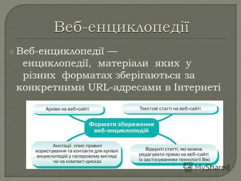 Веб-енциклопедії енциклопедії, матеріали яких у різних форматах зберігаються за конкретними URL-адресами в Інтернеті