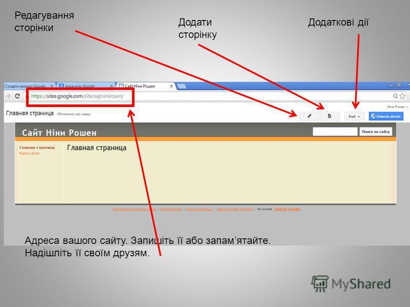 Редагування сторінки Додаткові діїДодати сторінку Адреса вашого сайту. Запишіть її або запамятайте. Надішліть її своїм друзям.