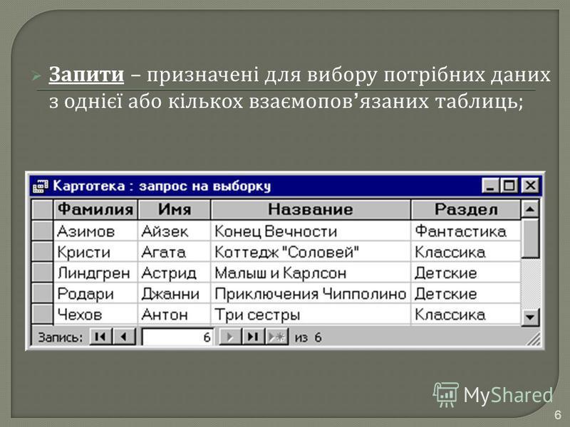 Запити – призначені для вибору потрібних даних з однієї або кількох взаємопов язаних таблиць ; 6