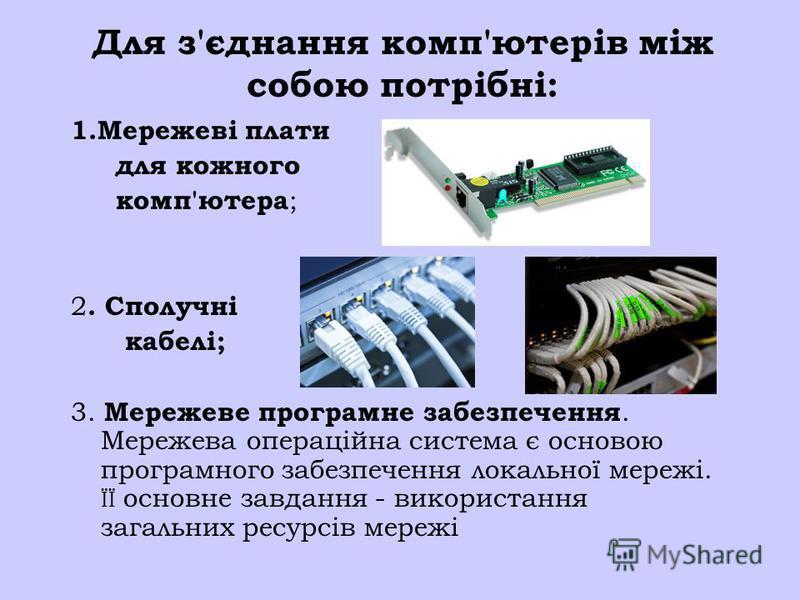 Для з'єднання комп'ютерів між собою потрібні: 1.Мережеві плати для кожного комп'ютера ; 2. Сполучні кабелі; 3. Мережеве програмне забезпечення. Мережева операційна система є основою програмного забезпечення локальної мережі. ЇЇ основне завдання - вик