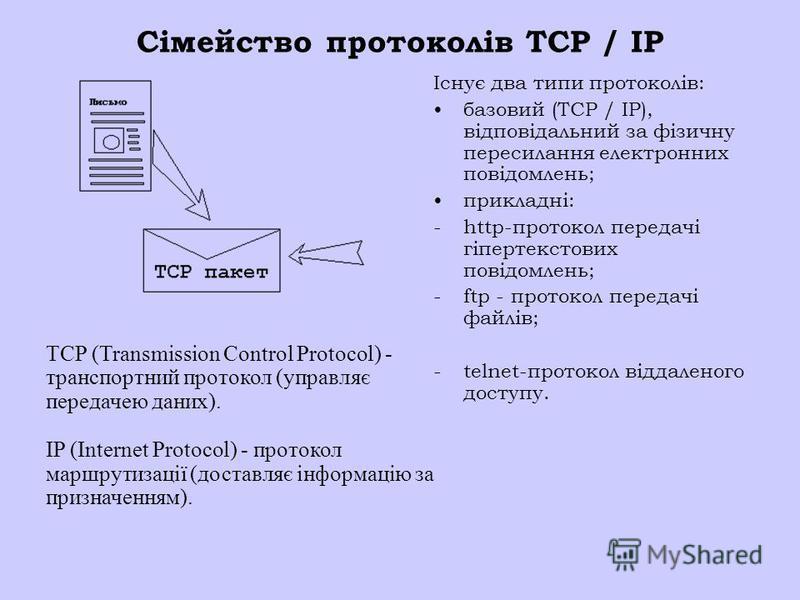 Сімейство протоколів TCP / IP Існує два типи протоколів: базовий (TCP / IP), відповідальний за фізичну пересилання електронних повідомлень; прикладні: - http-протокол передачі гіпертекстових повідомлень; - ftp - протокол передачі файлів; - telnet-про