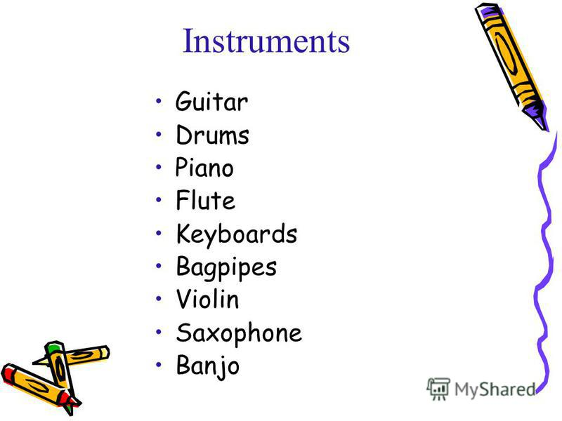 Instruments Guitar Drums Piano Flute Keyboards Bagpipes Violin Saxophone Banjo