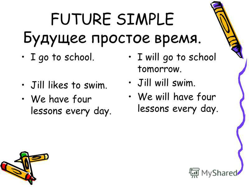FUTURE SIMPLE Будущее простое время. I go to school. Jill likes to swim. We have four lessons every day. I will go to school tomorrow. Jill will swim. We will have four lessons every day.
