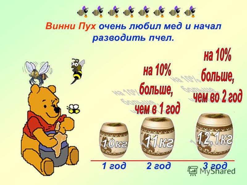 Винни Пух очень любил мед и начал разводить пчел. 1 год 2 год 3 год