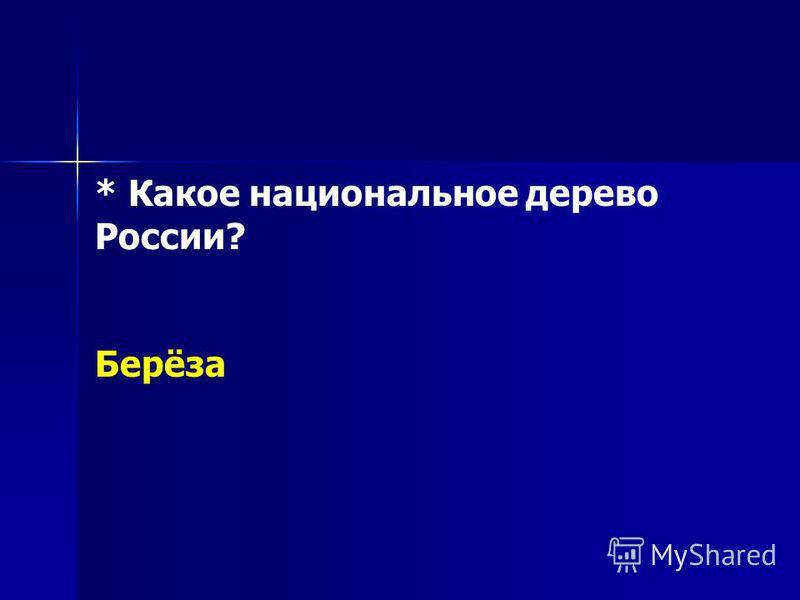 * Какое национальное дерево России? Берёза