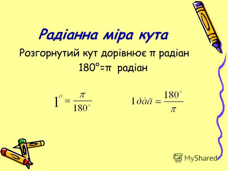 Радіанна міра кута Розгорнутий кут дорівнює π радіан 180°=π радіан