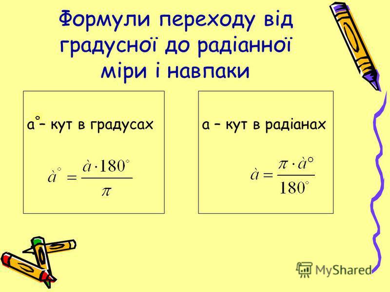 Формули переходу від градусної до радіанної міри і навпаки а – кут в градусах а – кут в радіанах