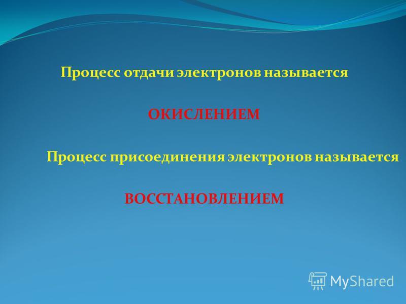 Процесс отдачи электронов называется ОКИСЛЕНИЕМ Процесс присоединения электронов называется ВОССТАНОВЛЕНИЕМ