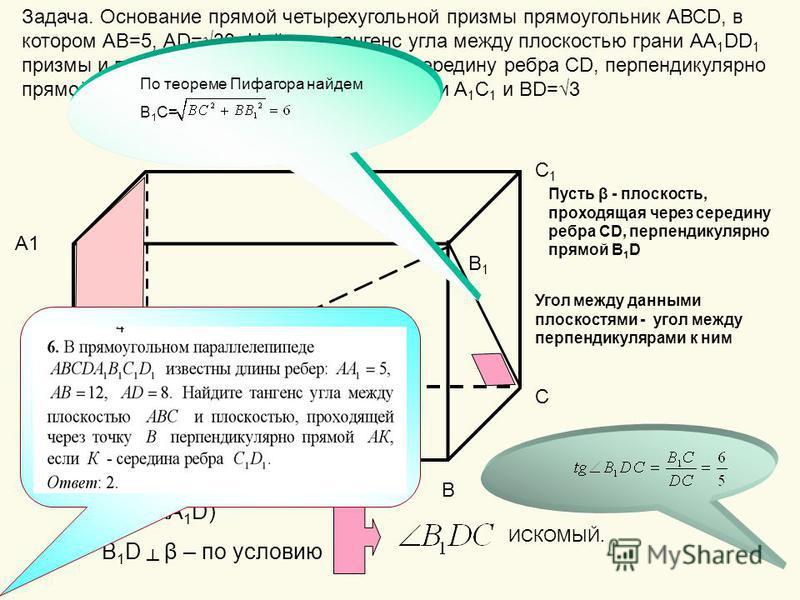 Задача. Основание прямой четырехугольной призмы прямоугольник АВСD, в котором АВ=5, АD=33. Найдите тангенс угла между плоскостью грани АА 1 DD 1 призмы и плоскостью, проходящей через середину ребра СD, перпендикулярно прямой В 1 D,если расстояние меж
