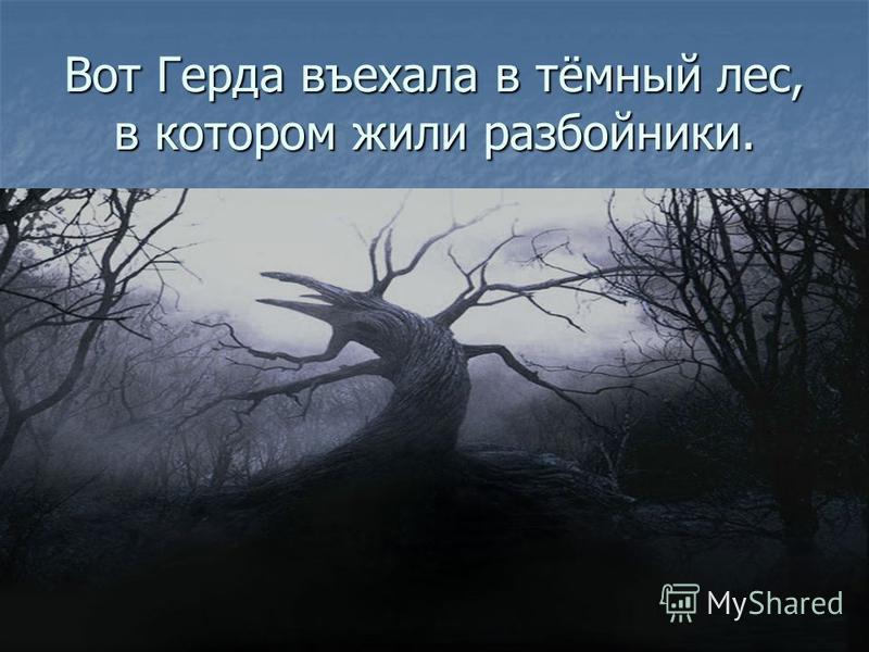 Вот Герда въехала в тёмный лес, в котором жили разбойники.