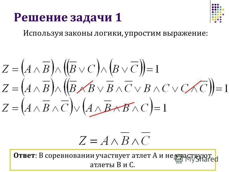 Решение задачи 1 Используя законы логики, упростим выражение: Ответ: В соревновании участвует атлет А и не участвуют атлеты В и С.
