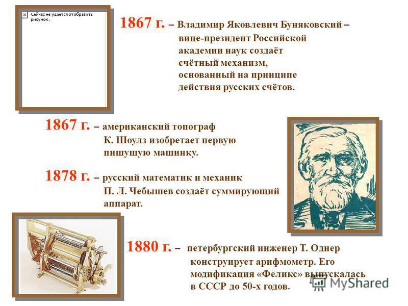 1828 г. – генерал-майор русской армии Ф. М. Слободской создаёт счётные приборы, которые вместе со специальными таблицами позволяли сводить арифметические действия к сложению и вычитанию. 1834 г. – французский академик, физик и математик Андре Мари Ам