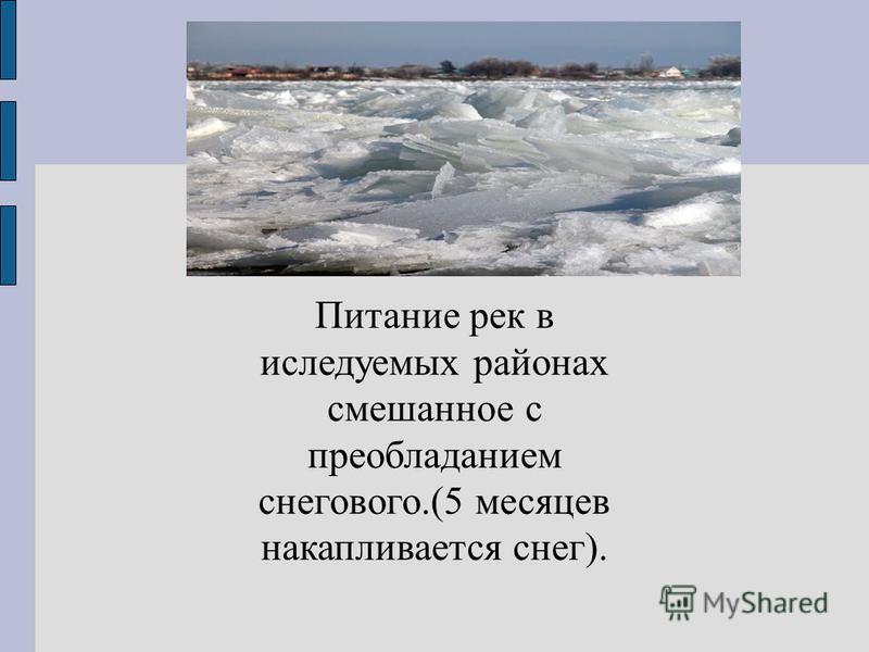 Питание рек в исследуемых районах смешанное с преобладанием снегового.(5 месяцев накапливается снег).