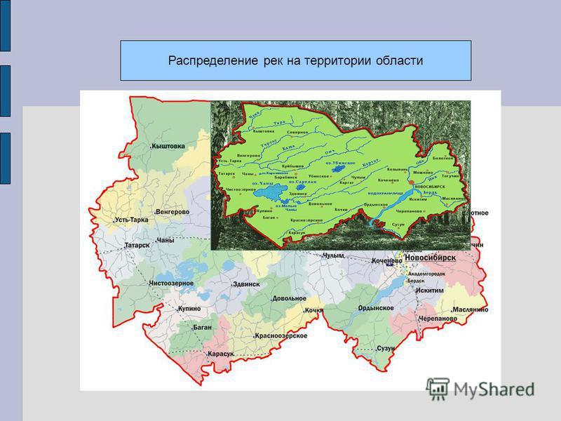 Распределение рек на территории области