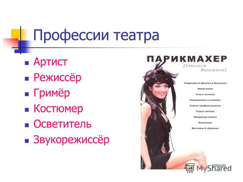 Профессии театра Артист Режиссёр Гримёр Костюмер Осветитель Звукорежиссёр