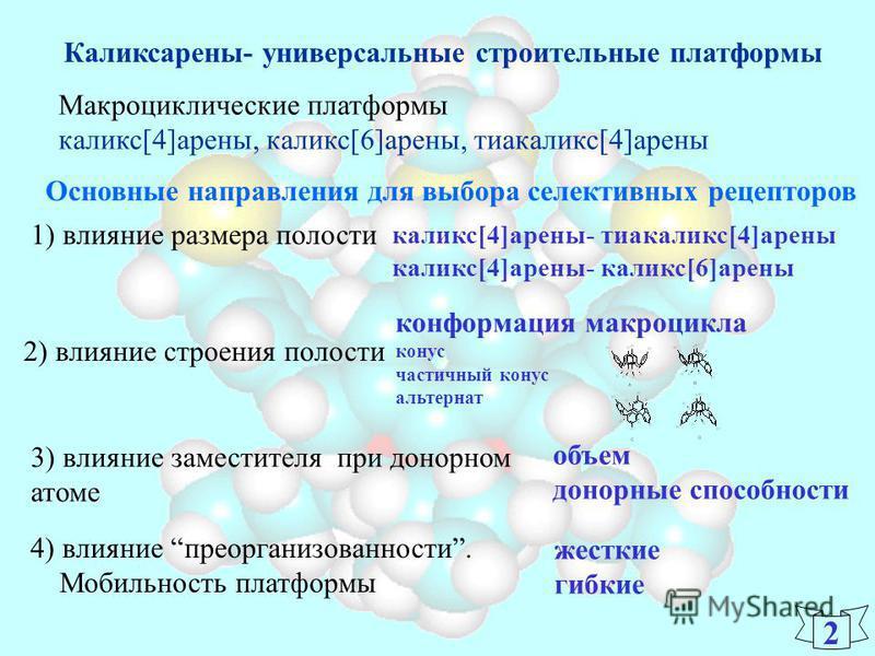 2 Каликсарены- универсальные строительные платформы Основные направления для выбора селективных рецепторов Макроциклические платформы каликс[4]арены, каликс[6]арены, тиакаликс[4]арены 1) влияние размера полости каликс[4]арены- тиакаликс[4]арены калик