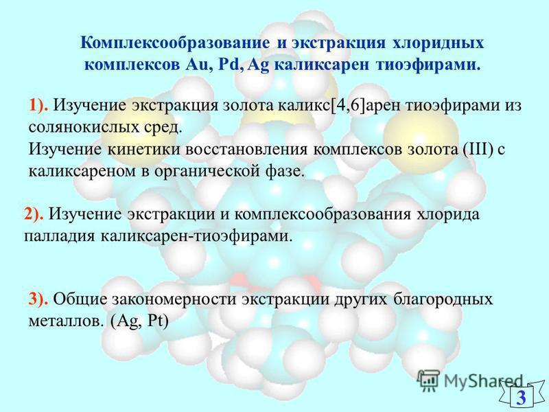 Комплексообразование и экстракция хлоридных комплексов Au, Pd, Ag каликсарен тиоэфирами. 1). Изучение экстракция золота каликс[4,6]арен тиоэфирами из солянокислых сред. Изучение кинетики восстановления комплексов золота (III) с каликсареном в органич