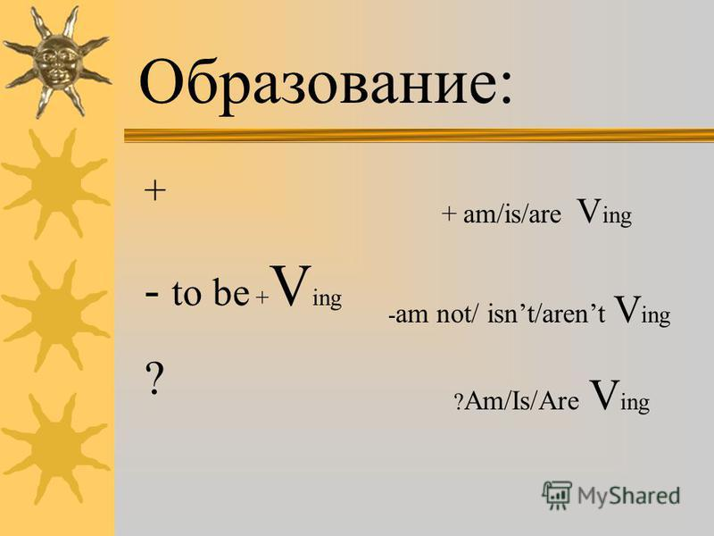 Образование: + - to be + V ing ? + am/is/are V ing - am not/ isnt/arent V ing ? Am/Is/Are V ing