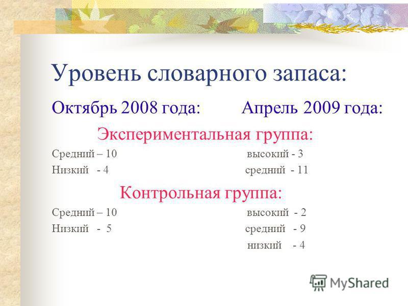 Уровень словарного запаса: Октябрь 2008 года: Апрель 2009 года: Экспериментальная группа: Средний – 10 высокий - 3 Низкий - 4 средний - 11 Контрольная группа: Средний – 10 высокий - 2 Низкий - 5 средний - 9 низкий - 4