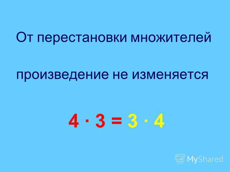 От перестановки множителей произведение не изменяется 4 · 3 = 3 · 4