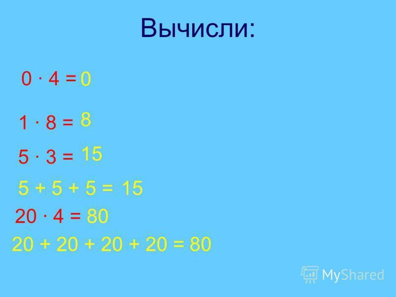 Вычисли: 0 · 4 = 1 · 8 = 0 8 5 · 3 = 5 + 5 + 5 =15 20 · 4 = 20 + 20 + 20 + 20 =80