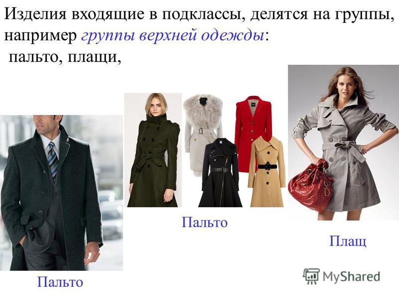 Изделия входящие в подклассы, делятся на группы, например группы верхней одежды: пальто, плащи, Пальто Плащ