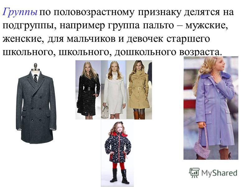 Группы по половозрастному признаку делятся на подгруппы, например группа пальто – мужские, женские, для мальчиков и девочек старшего школьного, школьного, дошкольного возраста.