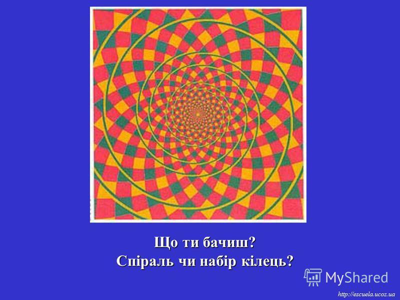 http://escuela.ucoz.ua Що ти бачиш? Спіраль чи набір кілець?