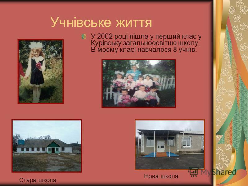 Учнівське життя У 2002 році пішла у перший клас у Курівську загальноосвітню школу. В моєму класі навчалося 8 учнів. Стара школа Нова школа