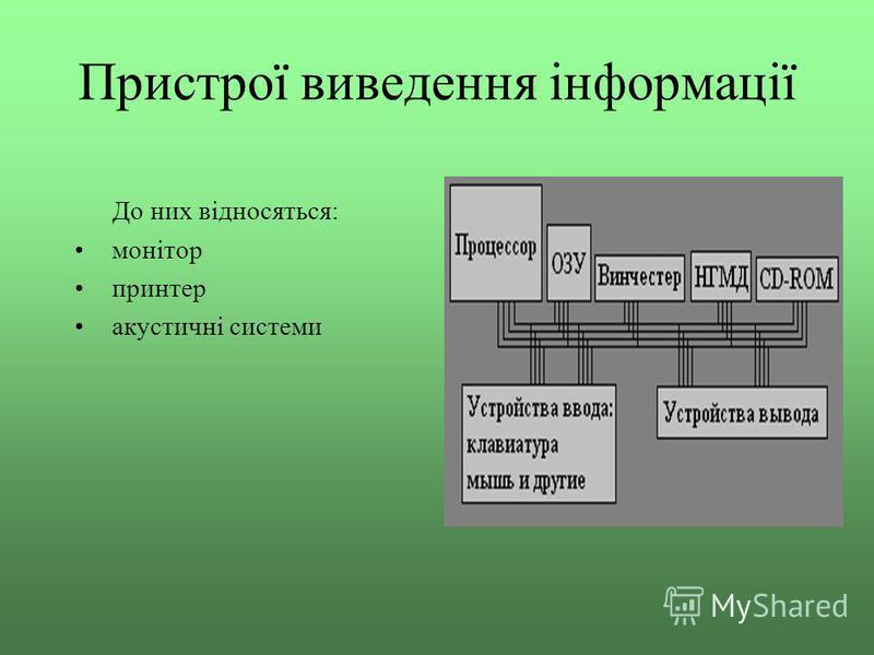 Пристрої виведення інформації До них відносяться: монітор принтер акустичні системи