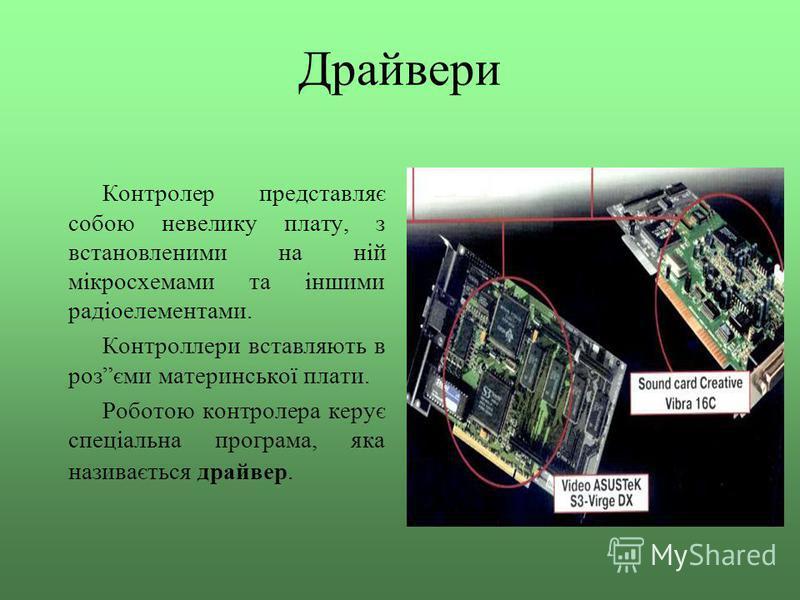 Драйвери Контролер представляє собою невелику плату, з встановленими на ній мікросхемами та іншими радіоелементами. Контроллери вставляють в розєми материнської плати. Роботою контролера керує спеціальна програма, яка називається драйвер.