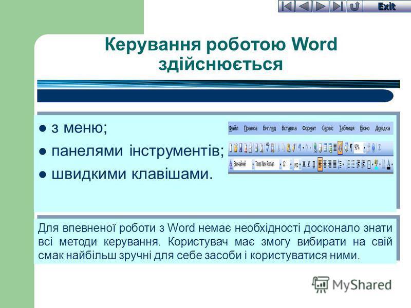 Exit Керування роботою Word здійснюється з меню; панелями інструментів; швидкими клавішами. з меню; панелями інструментів; швидкими клавішами. Для впевненої роботи з Word немає необхідності досконало знати всі методи керування. Користувач має змогу в