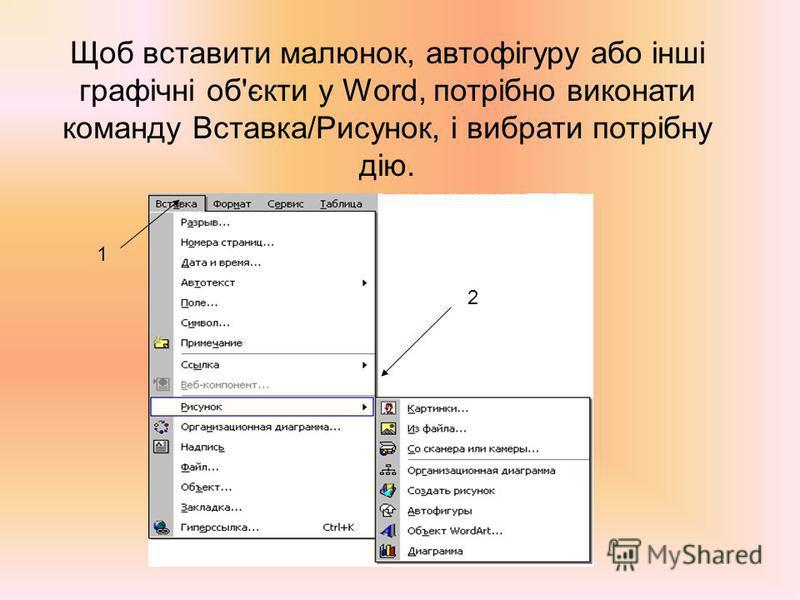 Щоб вставити малюнок, автофігуру або інші графічні об'єкти у Word, потрібно виконати команду Вставка/Рисунок, і вибрати потрібну дію. 1 2