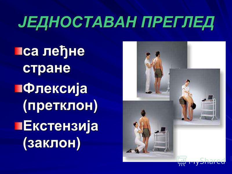 ЈЕДНОСТАВАН ПРЕГЛЕД са леђне стране Флексија (претклон) Екстензија (заклон)
