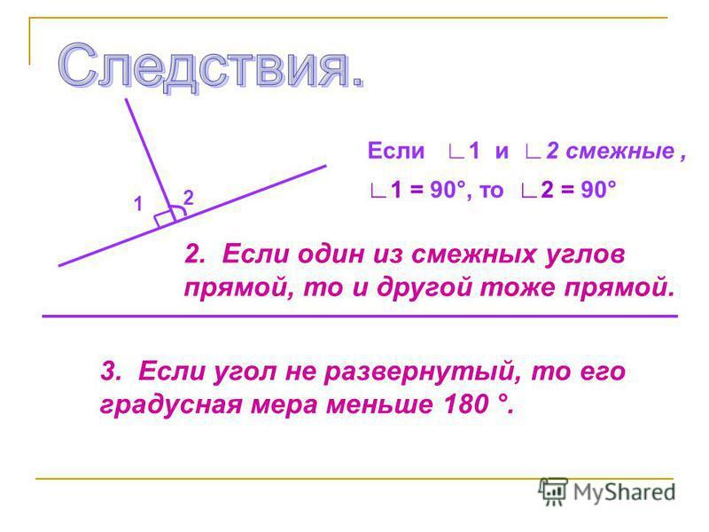 Если 1 и 2 смежные, 1 = 90°, то 2 = 90° 2 1 2. Если один из смежных углов прямой, то и другой тоже прямой. 3. Если угол не развернутый, то его градусная мера меньше 180 °.