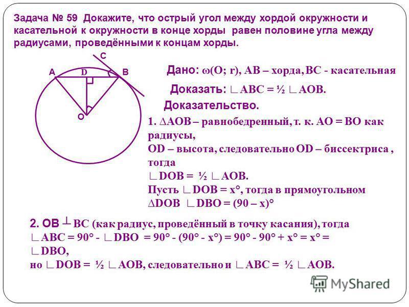 Задача 59 Докажите, что острый угол между хордой окружности и касательной к окружности в конце хорды равен половине угла между радиусами, проведёнными к концам хорды. О С ВА D Дано: ω(О; r), АВ – хорда, ВС - касательная Доказать: АВС = ½ АОВ. Доказат