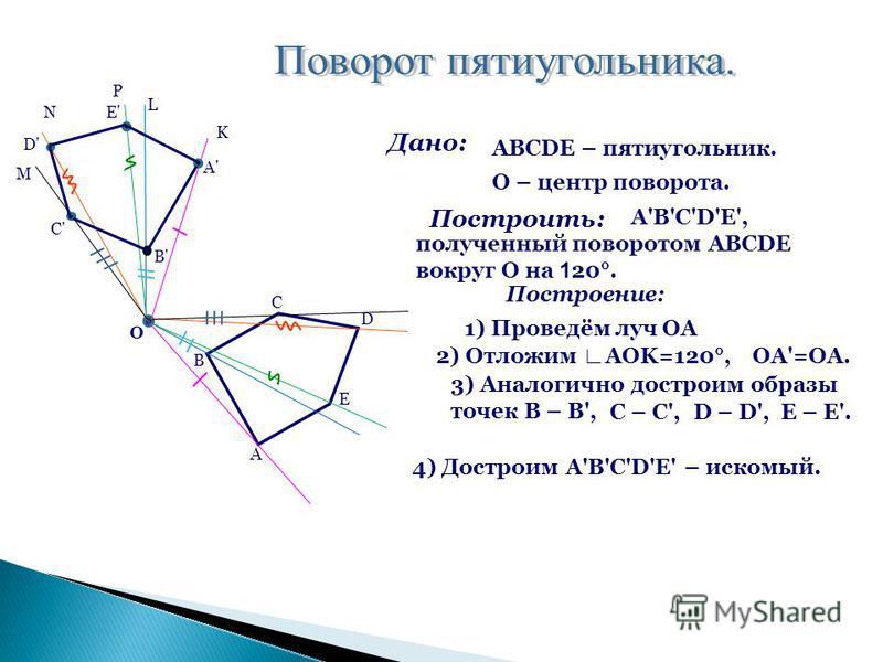 A B C D E O K L P N M A' B' C' D' E' Дано: ABCDE – пятиугольник. Построить: A'B'C'D'E', полученный поворотом ABCDE вокруг O на 1 20°. Построение: 1) Проведём луч OA 2) Отложим AOK=120°, 3) Аналогично достроим образы точек B – B', C – C',D – D',E – E'