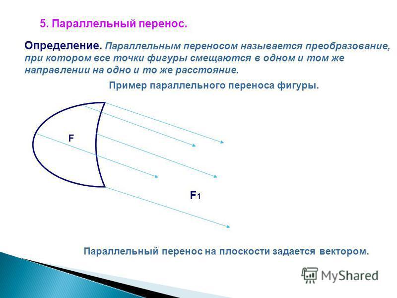 5. Параллельный перенос. Определение. Параллельным переносом называется преобразование, при котором все точки фигуры смещаются в одном и том же направлении на одно и то же расстояние. Пример параллельного переноса фигуры. F F1F1 Параллельный перенос