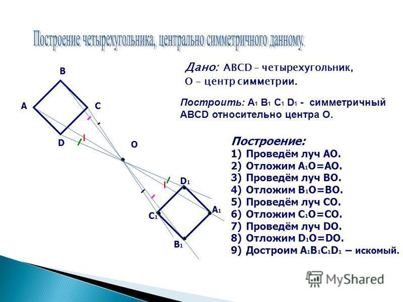 Дано: АВСD – четырехугольник, О – центр симметрии. А В С D О Построение: 1)Проведём луч АО. 2)Отложим А 1 О=АО. 3)Проведём луч ВО. 4)Отложим В 1 О=ВО. 5)Проведём луч СО. 6)Отложим С 1 О=СО. 7)Проведём луч DO. 8)Отложим D 1 O=DO. 9)Достроим A 1 B 1 C