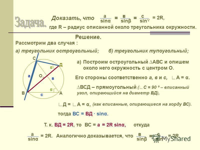 Доказать, что а в sinssinβsin٧ == с = 2R, где R – радиус описанной около треугольника окружности. Решение. Рассмотрим два случая : а) треугольник остроугольный;б) треугольник тупоугольный; а) А С В α О Д α с в а Построим остроугольный АВС и опишем ок