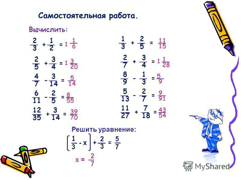 Самостоятельная работа. Вычислить: 2 1 3 2 35 1 2 + = = + 2 2 5 3 74 3 4 + = = + 4 8 7 1 93 3 14 - = = - 6 5 11 2 137 2 5 - = = - 12 11 35 7 2718 3 14 + = = + 1 1 6 3 20 5 14 8 55 39 70 11 15 1 28 5 9 9 91 43 54 1 1 Решить уравнение: 2727 = - х 2 3 +